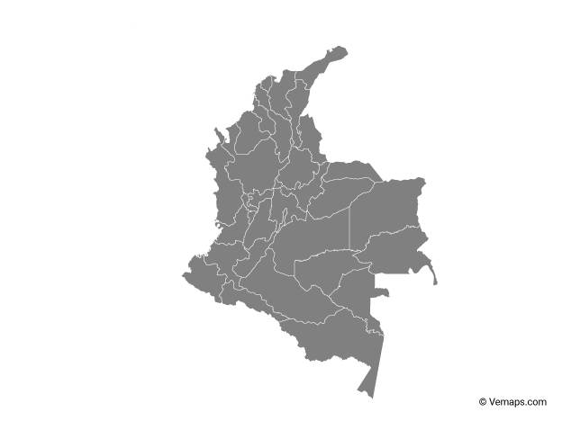 Grey Map of Colombia with Departments