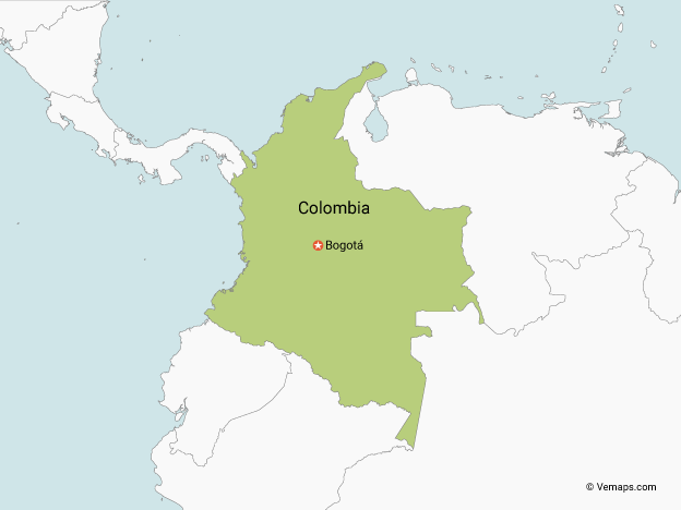 Map of Colombia with Neighbouring Countries