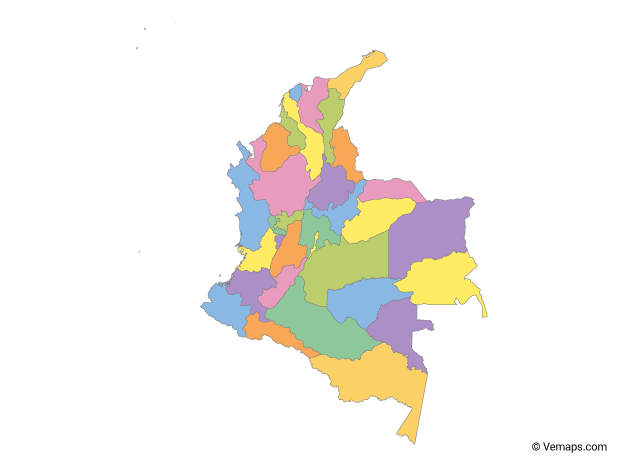 Multicolor Map of Colombia with Departments