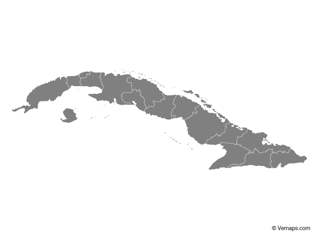 Grey Map of Cuba with Provinces