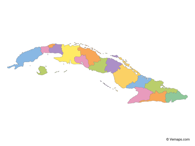 Multicolor Map of Cuba with Provinces