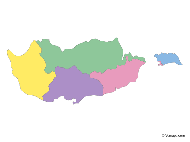 Multicolor Map of Cyprus with Districts