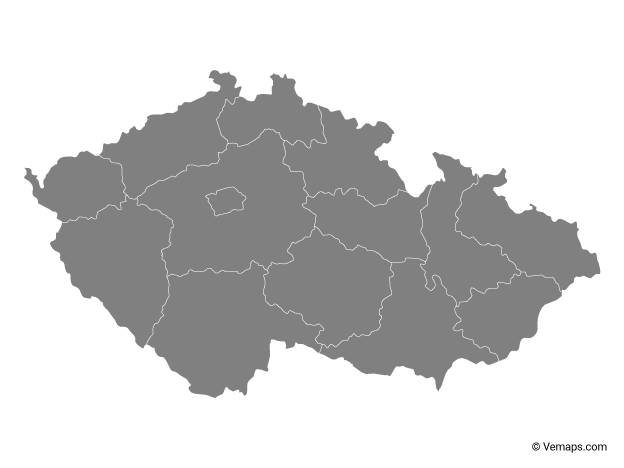 Grey Map of Czech Republic with Regions
