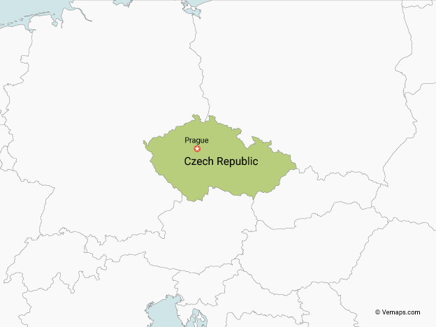 Map of Czech Republic with Neighbouring Countries