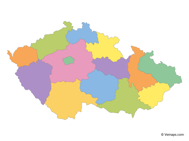 Multicolor Map of Czech Republic with Regions