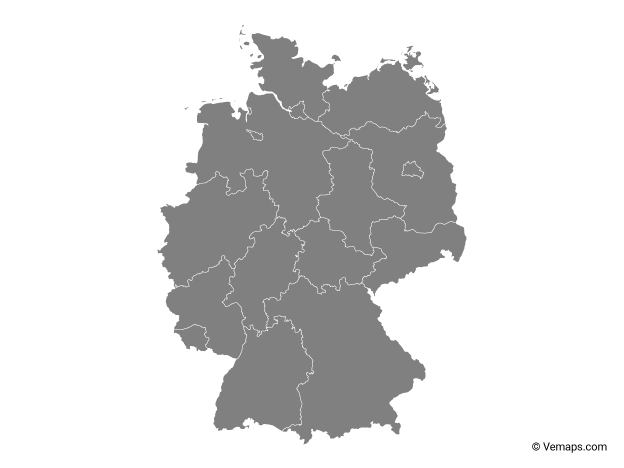 Grey Map of Germany with States