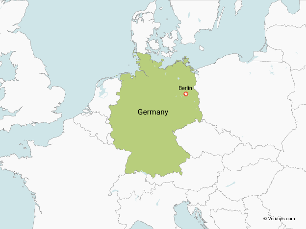 Map of Germany with Neighbouring Countries