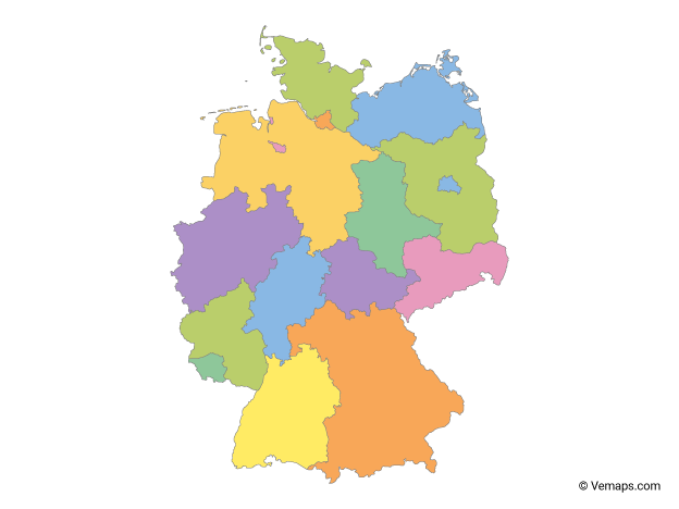 Multicolor Map of Germany with States