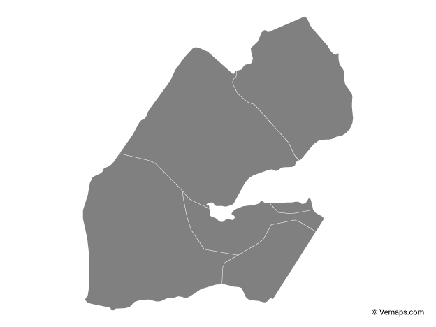 Grey Map of Djibouti with Regions