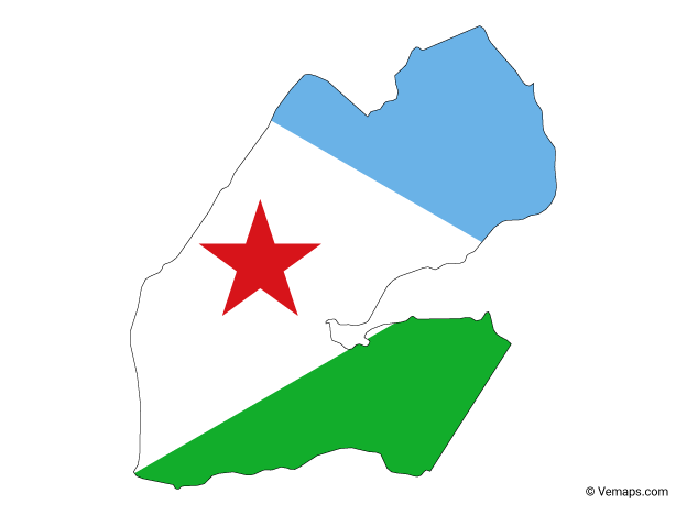 Flag Map of Djibouti