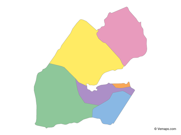 Multicolor Map of Djibouti with Regions