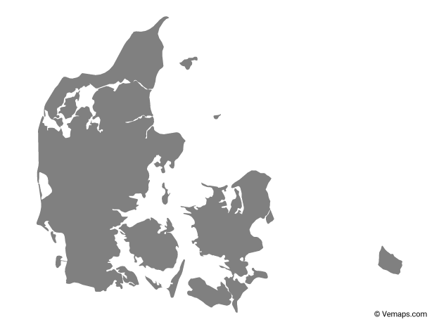 Grey Map of Denmark