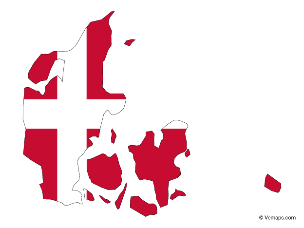 Flag Map of Denmark