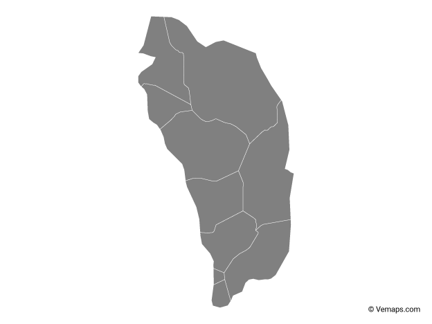 Grey Map of Dominica with Parishes