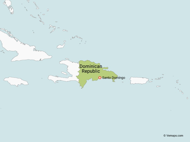 Map of Dominican Republic with Neighbouring Countries