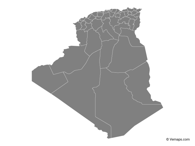 Grey Map of Algeria with Provinces