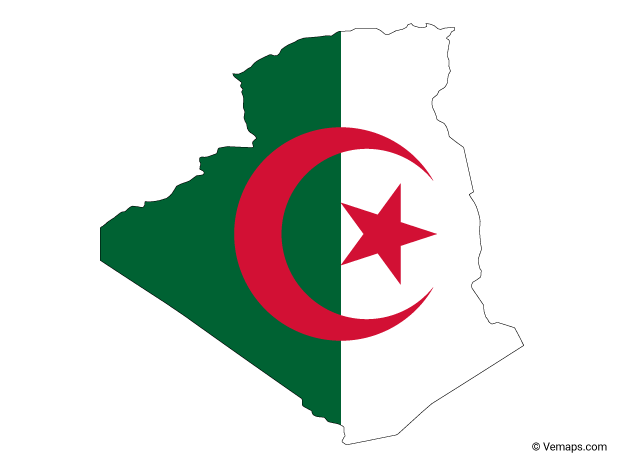 Flag Map of Algeria