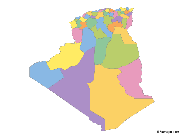Multicolor Map of Algeria with Provinces
