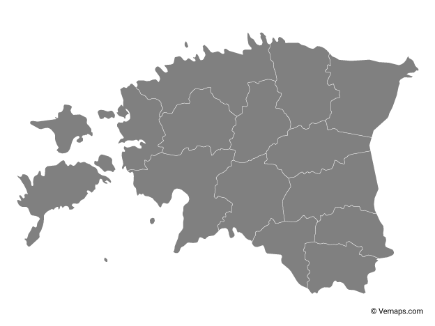 Grey Map of Estonia with Counties