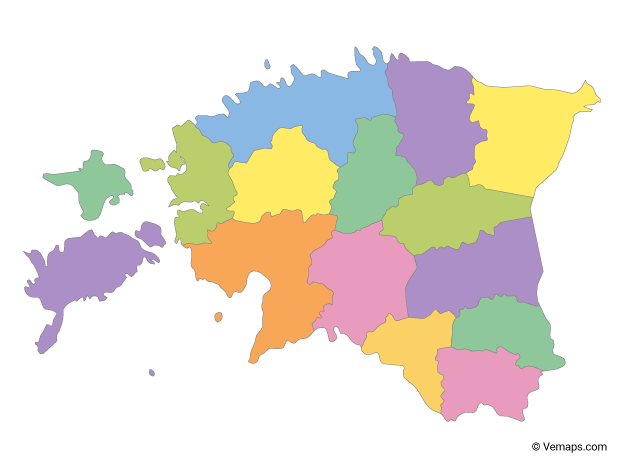 Multicolor Map of Estonia with Counties