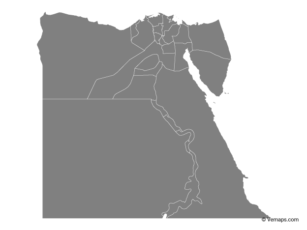 Grey Map of Egypt with Governorates