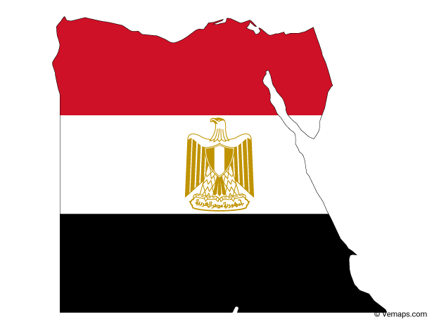 Flag Map of Egypt