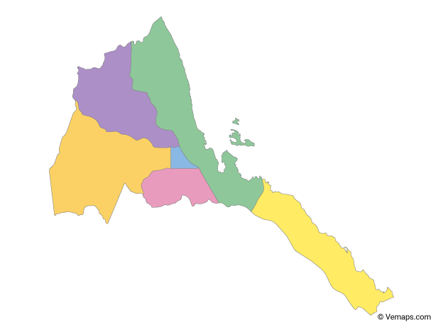 Multicolor Map of Eritrea with Regions