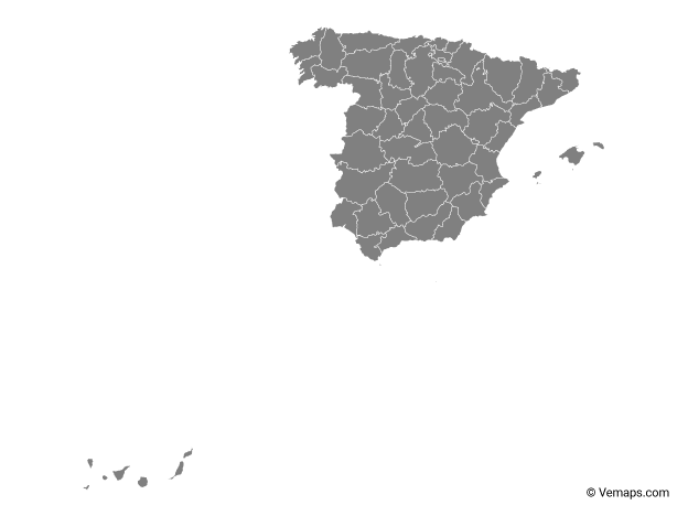 Grey Map of Spain with Provinces