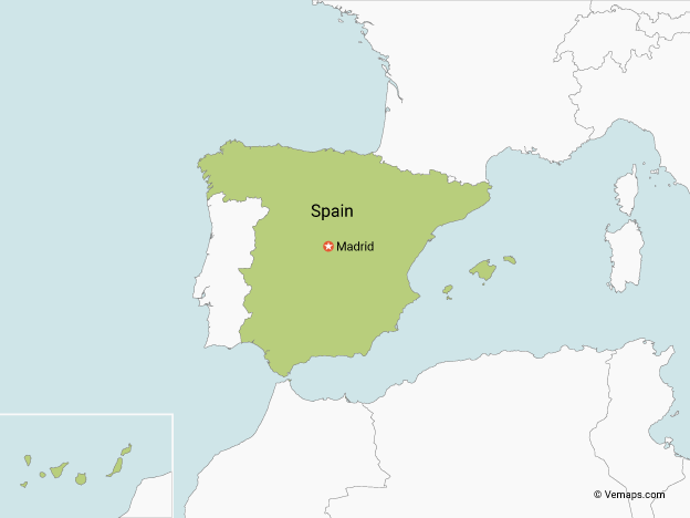 Map of Spain with Neighbouring Countries