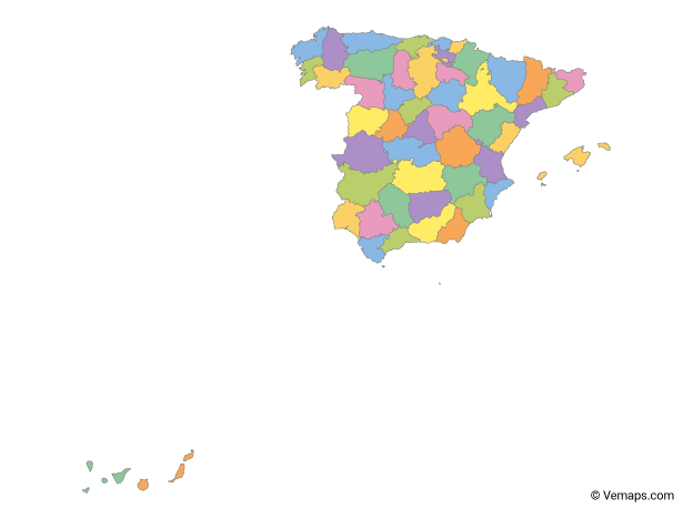 Multicolor Map of Spain with Provinces