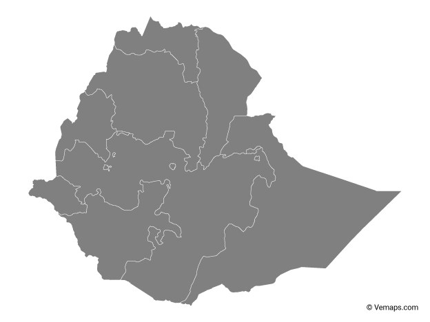 Grey Map of Ethiopia with Regions