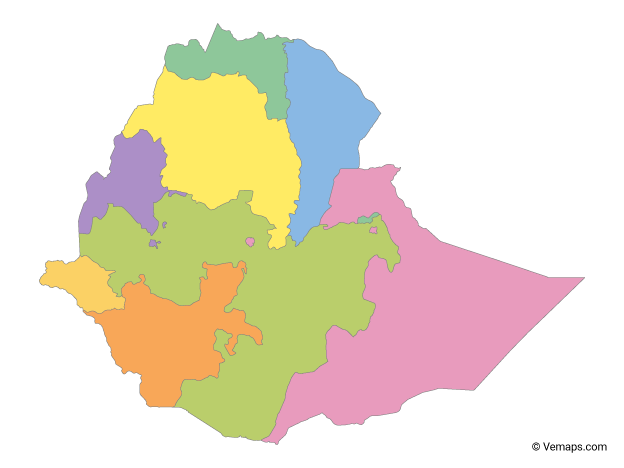 Multicolor Map of Ethiopia with Regions