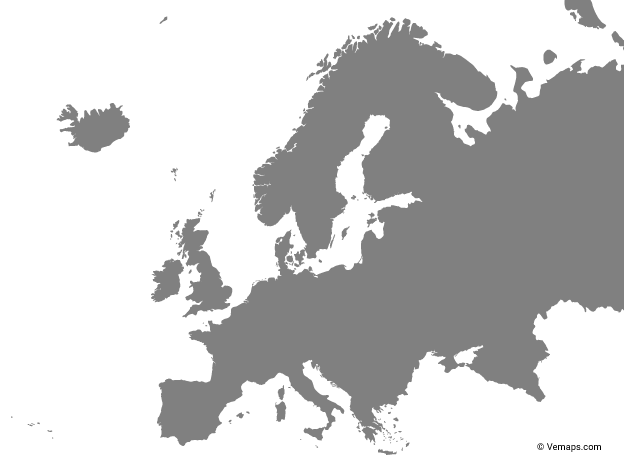 Grey Map of Europe