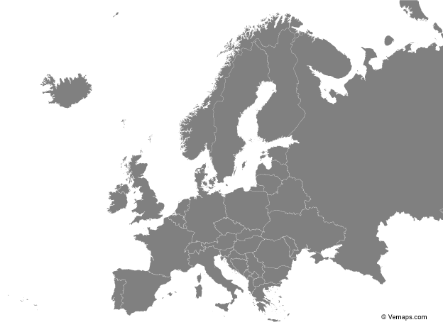Grey Map of Europe with Countries