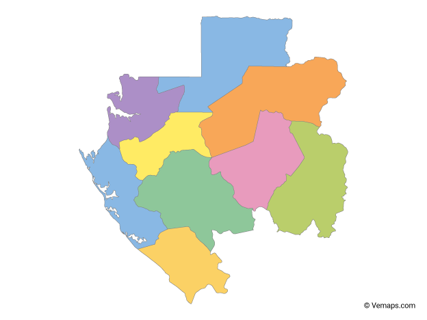 Multicolor Map of Gabon with Provinces