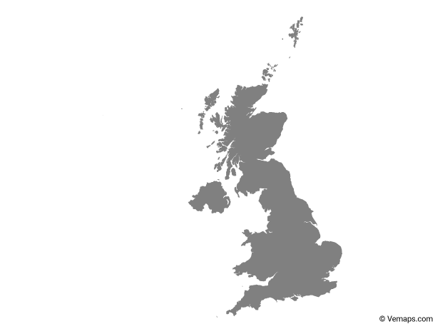 Grey Map of United Kingdom
