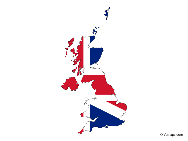 Flag Map of United Kingdom