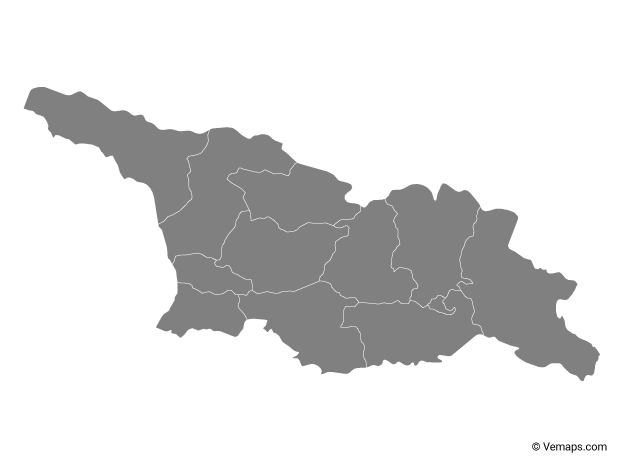 Grey Map of Georgia with Regions