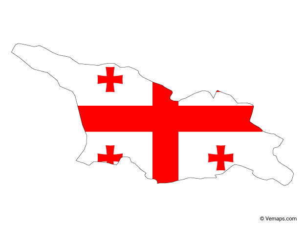 Flag Map of Georgia