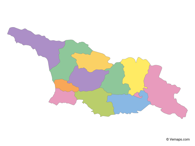 Multicolor Map of Georgia with Regions