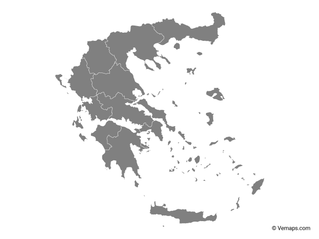 Grey Map of Greece with Regions