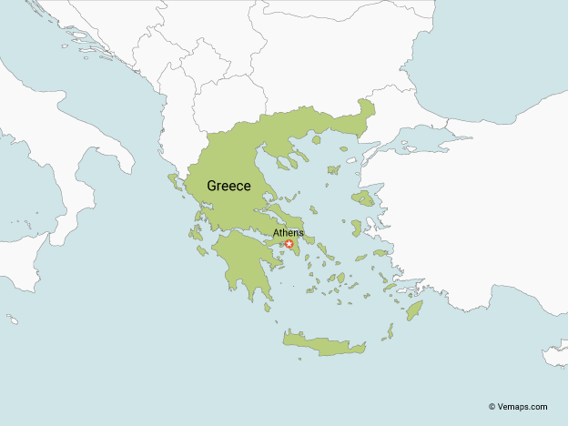 Map of Greece with Neighbouring Countries