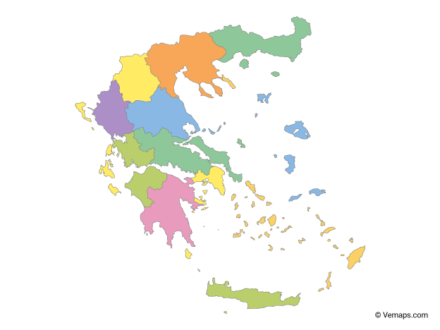 Multicolor Map of Greece with Regions
