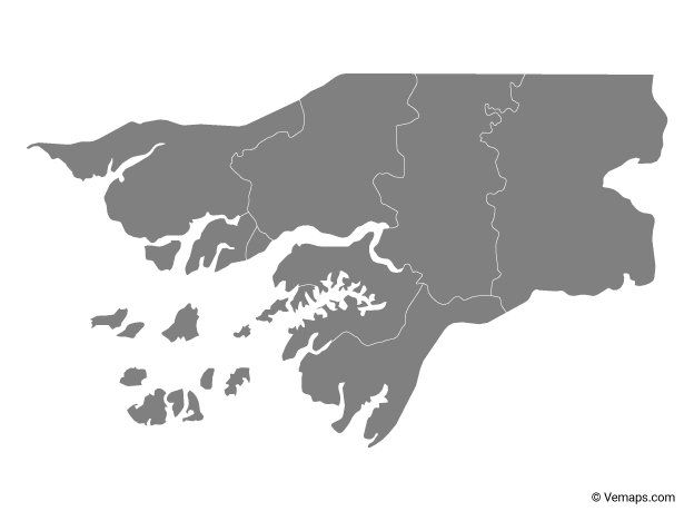 Grey Map of Guinea-Bissau with Regions