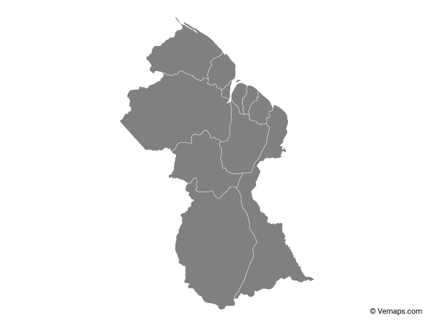 Grey Map of Guyana with Regions