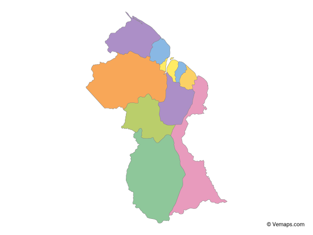 Multicolor Map of Guyana with Regions