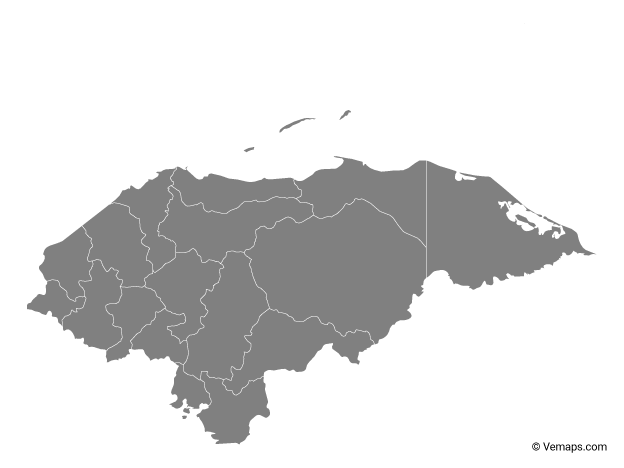 Grey Map of Honduras with Departments