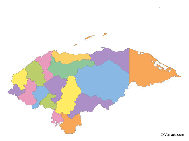 Multicolor Map of Honduras with Departments