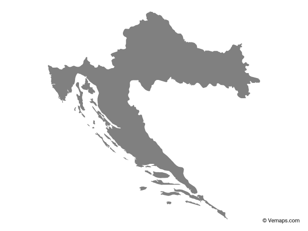Grey Map of Croatia