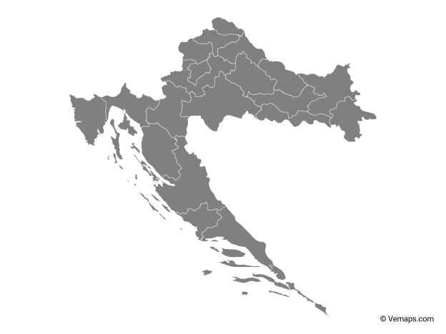 Grey Map of Croatia with Counties